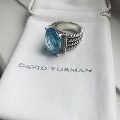 David Yurman Wheaton Ring Blue Topaz and Diamonds Sterling silver Faceted blue topaz, 16 x 12mm Pavé diamonds, 0.13 total carat weight Ring, 6mm wide - size 6 - no trades David Yurman Jewelry Rings