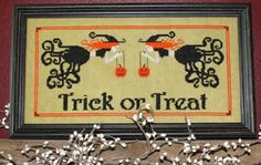 Needle Bling Designs Trick or Treat - Cross Stitch Pattern. Model stitched on 30 Ct. Grasshopper linen with Weeks Dye Works and Gentle Art Sampler threads (or D