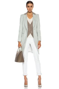 Image 1 of Laveer Vested Acrylic-Blend Coat in Pale Grey & Bark