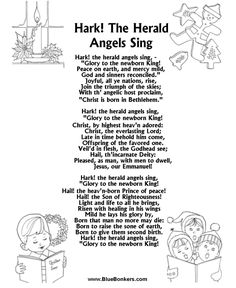 Printable Christmas Carol Lyrics sheet : Hark the Herald Angles Sing