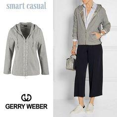 Еще один модный образ от Net-A-Porter в стиле smart casual, построен на контрастах. Классическая рубашка в полоску, брюки-кюлоты, кеды и, в дополнение, удобная спортивная хлопковая кофта с капюшоном. SALE! 2199 грн - 30% = 1539 грн #gerryweber #taifunodessa #taifunfashion #sportwear #sale #shopping #odessa #culottes #netaporter #ladiesfashion #womanclothing #smartcasual