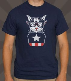 He's here to fight crime and giant hairballs! USA! USA! US-burp...hairball.  - Professionally printed silkscreen. - 100% cotton tee (heathers poly-cotton). - Ships within 2 business days. - Designed and printed in the USA.