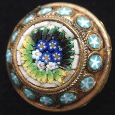 Italian Micromosaic Button Pin