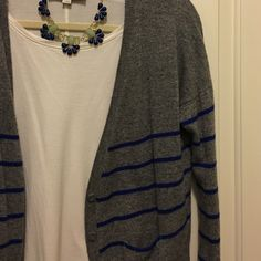 gray sweater with cobalt blue stripes American eagle large, fits more like a medium. Very cute, excellent condition American Eagle Outfitters Sweaters Cardigans