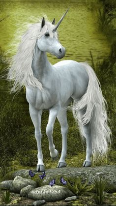 Another cool unicorn pic! Unicorn And Fairies, Unicorn Fantasy, Real Unicorn, Unicorn Horse, White Unicorn, Unicorn Art, Unicorn Painting, Pegasus, Unicornios Wallpaper