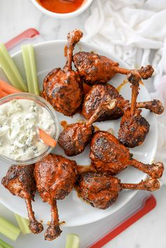 Buffalo Chicken Drumsticks   foodiecrush.com #baked #oven #recipes #superbowl #appetizers