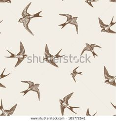 Vintage Pattern With White Little Swallows By Kusuriuri Via ShutterStock