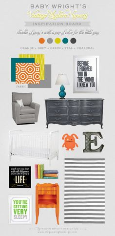 Gray + orange + blue + striped rug is a must - Nursery mood board
