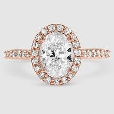 4b6b475ac41 14K Rose Gold Fancy Halo Diamond Ring with Side Stones (2 5 ct.