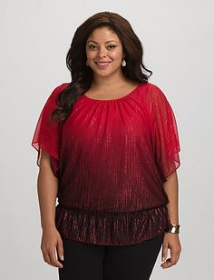 Plus Size Ombre Shimmer Blouse | Dressbarn