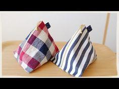 縫わずに作る三角ポーチの作り方/ボンド 裁ほう上手を使用♪/内布ナシ - YouTube