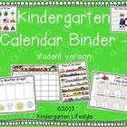 Kindergarten Calendar Binder - for student calendar binder