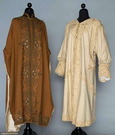 """Two embroidered evening wraps, 1900-1908;  One beige coat with raised beige silk embroidery and couched silk soutache, silk satin lining, L 47""""; One chestnut brown cape, brown velvet trim, silk soutache with blue and pink embroidery"""
