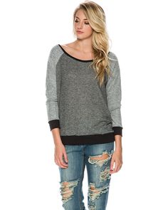 THIS PRODUCT SHIPS EXPRESS FROM THE US SWELL Lazy Days off shoulder sweater.  Womens pullover sweater.  Wide neckline.  Sleeves are reverse of fabric.  Contrast cuffs, bottom hem, and collar.  Sleeve length: 24 inches.  Shoulder to hem length: 25 inches.  65% polyester, 20% cotton, 15% rayon.  Machine wash cold, tumble dry low.  Made in USA. Size  Fit GuideModel is wearing size Small.Models height: 59Models chest: 32 inches.Models waist: 24.5 inches.Models hips: 34.5 inches.