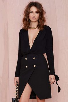Nasty Gal Long Way Down Crepe Bodysuit