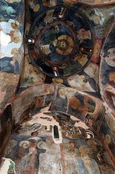 UNESCO site, A view of the medieval frescoes at the Boyana church on the outskirts of Sofia, Bulgaria, painted in the 13th-century.