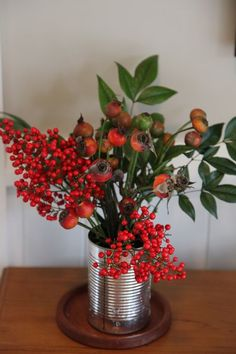 rosehips in old can