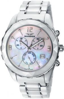 698 Reloj mujer Sandoz esfera nácar 9 brillantes brazalete acero cerámica  cronógrafo calendario 48f3b048e7c6