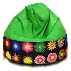 Turbo Beanbags Cake Modern Large Bean Bag Chair - Green Floral - CKE.NC.010500.01