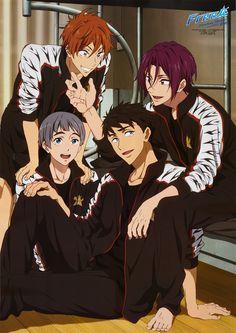 Free! Team Samezuka Momotaru, Sousuke, Rin, and Nitori