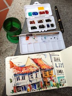 Quick sketch at Boat Quay, Singapore, by Paul Wang