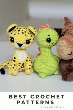 CROCHET toys pdf tutorial by LoopyPattern. Amigurumi dinosaur , crochet moose , leopard toy, dinosaur tutorial. How crochet moose , leopard pattern