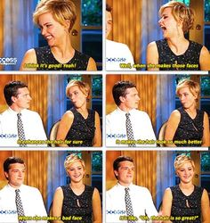 Josh on Jennifer's hair. He is completely righ... Josh Hutcherson and Jennifer Lawrence are my favorite celebrity (non) couple.
