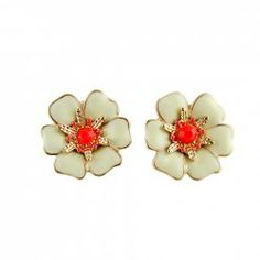 $3.60 Pair of Exquisite Colored Glazed Flower Earrings For Women