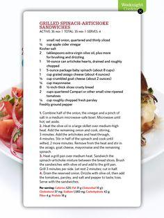 Grilled Spinach-Artichoke Sandwiches -- Food Network Magazine