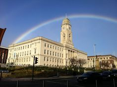 Rainbow over the town hall Barnsley Feb 2016.