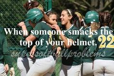 Super Softball Problems- and you feel your hair just being messed up with each pat... secretly angers me haha!!