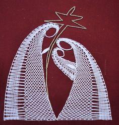 Szopka Betlejemska - Her Crochet Hairpin Lace Crochet, Crochet Motif, Crochet Designs, Crochet Shawl, Bobbin Lace Patterns, Bead Loom Patterns, Lace Earrings, Lace Jewelry, Lacemaking