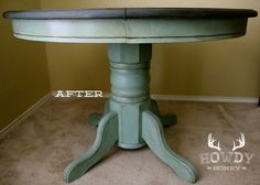 Pedestal Table of My Dreams: The top is painted in Annie Sloan Chalk Paint in Graphite covered in straight dark wax. Please note, you cannot add the dark wax to any other color of paint without first using the clear wax. It will stain the paint in a way that is not desired, and the only solution is to repaint and start again. The base is painted in Duck Egg and protected with a coat of clear wax and distressed with dark wax and Graphite.
