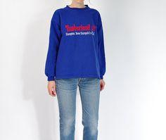 90s Timberland Oldschool Sportswear Cornflower Blue Unisex Sweatshirt / Size M/L