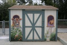Barnyard Animals Mural - Shed Front View Back Painting, Mural Painting, Painting On Wood, Tole Painting, Paintings, Backyard Projects, Garden Projects, Backyard Ideas, Chicken Coop Decor