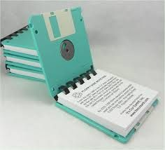 Notebooks made from floppy disks. Cute!