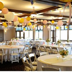 Lanterns and stripe table runners. You could do these out of wrapping paper or fabric.