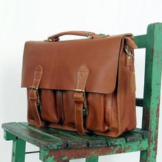 Handmade Antique Leather Briefcase   Messenger   14