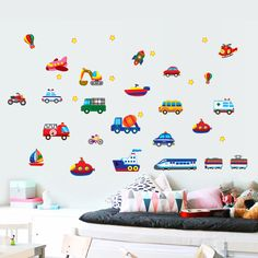Removable Cartoon Car Train Airplane Wall Sticker For Nursery Decals Room K Wall Stickers Cartoon, Removable Wall Stickers, Wall Stickers Home Decor, Cartoon Wall, Wall Decor, Nursery Wall Stickers, Kids Wall Decals, Art Wall Kids, Wall Art