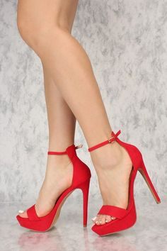 Rock these platform heels with any outfit you have in mind. The featuring includes a bold color with a faux suede fabric, adjustable ankle strap, open. Platform High Heels, Black High Heels, High Heels Stilettos, High Heel Boots, Stiletto Heels, Shoes Heels, Prom Heels, Heeled Sandals, Strappy Sandals