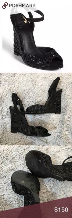 Tory Burch Black Lila Embellished Wedges Size 9 New without box! Tory Burch black wedges. Size 9. Gorgeous embellishment detail over the whole shoe. Black suede straps Tory Burch Shoes Heels