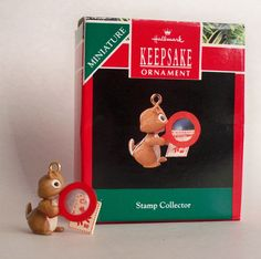 "Hallmark Keepsake Miniature Ornament, ""Stamp Collector"", 1990."