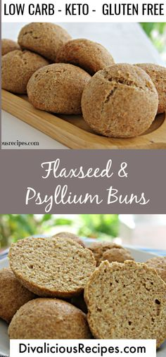Low Carb Flaxseed & Psyllium Bread Rolls Flaxseed psyllium husk bread rolls that are easy to make and look like proper bread too! High in fibre, low in carbs and gluten free they are a great healthy bread roll. Keto Friendly Desserts, Low Carb Desserts, Low Carb Recipes, Dessert Recipes, Diet Recipes, Healthy Recipes, Breakfast Recipes, Eat Healthy, Bread Recipes