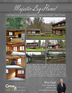 #NEWLISTING  Down a Quiet Tree-Lined Street, you'll find this Majestic Log-Home resting on a tranquil 10 Acres Lot that's truly an incredible setting! Zoned RRR 1/5 which means there's a chance that you can short plat off a 5-acre lot to sell/build on! This Wonderful Log Home is just minutes south of Oly & has a ton of potential w/some cosmetic upgrades to make this Log Home truly your dream home! Plus there's a huge detached garage w/a shop area (1,000 sqft +/-) & paved RV Parking. New…