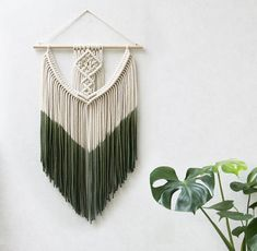 "Small Macrame Wall Hanging - Macrame Curtains - Macrame Wall Art - Macrame Patterns - Wall Tapestry - Dip-dye Tapestry - Home Decor - ""INA"""