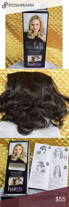 """Hairdo 20"""" Brown Synthetic Hair Wavy Extension NEW This is a Midnight Brown/Dark Brown 20"""" clip on wavy hair extension! This is a lifesavers when you don't have time to do your hair. The brand claims that this is the only synthetic hair you can flat iron, curl, and blow dry. This is pretty much new in open box. Was maybe used once. Includes everything you see in photos!   **If you appreciate old school quality - you're in the right place.  We ship FAST, usually within 1 business day! Thanks…"""