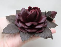 burgundy leather rose pin
