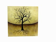 Landscape Tree painting original abstract Gold by Treelovergirl, $40.00