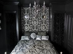 The black bedroom and bathroom of your delightfully dark dreams--From Offbeat Home.--a must see. I love this!