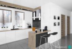 white & grey & oak wood kitchen HAY black stools www.nanadesign.pl